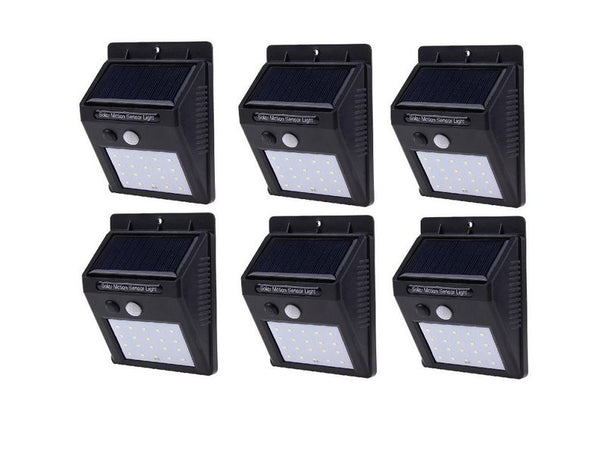 SQI. 25 Led Solar Powered LED Wall Light with Dim Mode + PIR +Night Sensor Pack 6