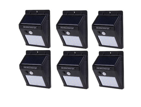 SQI. 20 Led Solar Powered LED Wall Light + PIR sensor+Night sensor Pack 6