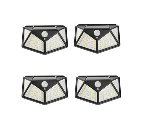 4PCS 100 LED Solar Powered PIR Wall Light With Motion Sensor 100