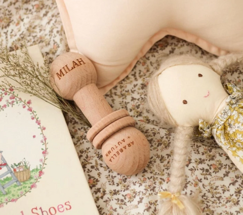 Arabella & Autumn Wooden Rubble Rattle as sold by Scarlett Tippy Toes