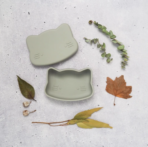 We Might be Tiny Cat Snackie (Silicone Food Storage) in Dark Grey as sold by Scarlett Tippy Toes