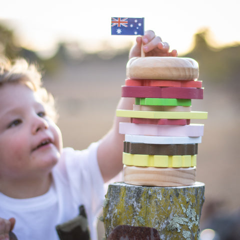 Make Me Iconic Wooden Stacking Burger as sold by Scarlett Tippy Toes