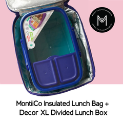 MontiiCo Insulated Lunch Bag with Decor XL Divided Lunchbox as sold by Scarlett Tippy Toes