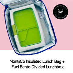 MontiiCo Insulated Lunch Bag with Fuel Bento Divided Lunchbox as sold by Scarlett Tippy Toes