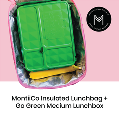 MontiiCo Insulated LunchBag with Go Green Medium Lunchbox as sold by Scarlett Tippy Toes