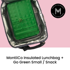 MontiiCo Insulated Lunch Bag with Go Green Small Snack as sold by Scarlett Tippy Toes