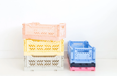 Collection of Aykasa Lillemor Foldable Crates as sold by Scarlett Tippy Toes