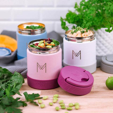 MontiiCo Insulated Food Jars with Silicone Base in Three Different Colours as sold by Scarlett Tippy Toes