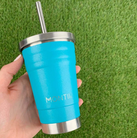 MontiiCo Mini Smoothie Cup in Aqua Glitter as sold by Scarlett Tippy Toes