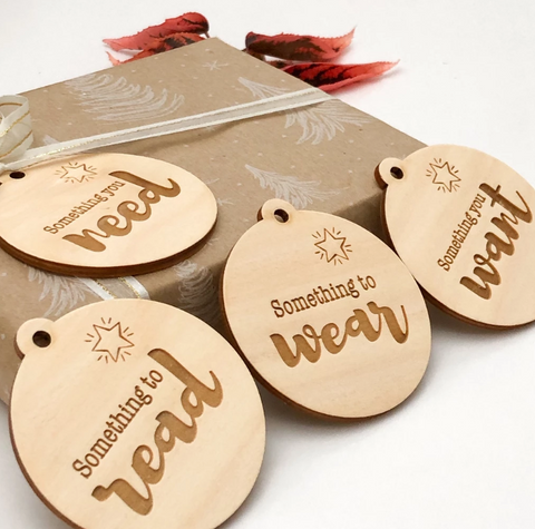 One.Chew.Three Wooden Tags for Christmas Gifts as sold by Scarlett Tippy Toes