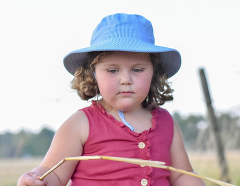 Bedhead Hats Blue & WHite Stripes Broadbrim Hat as sold by Scarlett Tippy Toes