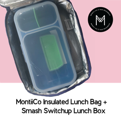 MontiiCo Insulated Lunch Bag with Smash Switchup Lunch Box as sold by Scarlett Tippy Toes