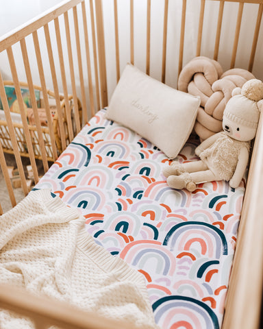 Snuggle Hunny Fitted Cot Sheet in Rainbow Baby as sold by Scarlett Tippy Toes