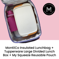 MontiiCo Insulated Lunch Bag with Tupperware Large Divided Lunchbox and My Squeeze Reusable Pouch as sold by Scarlett Tippy Toes