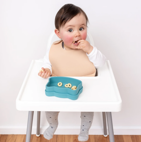 We Might be Tiny Silicone Catchie Bib in Beige as sold by Scarlett Tippy Toes