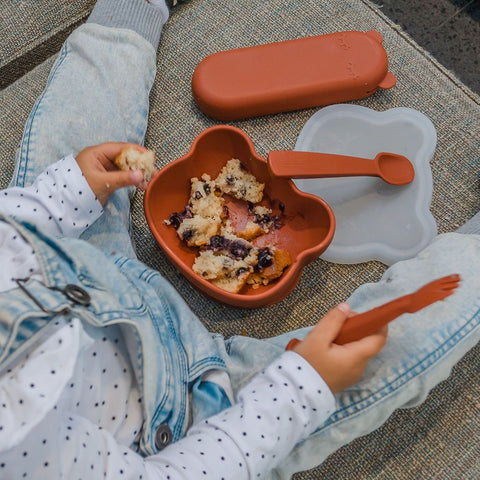 We Might Be Tiny Rust Stickie Bowl and Matching Utensils