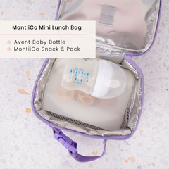 Baby Bottle and MontiiCo Snack Pack in MontiiCo Insulated Lunch Bag