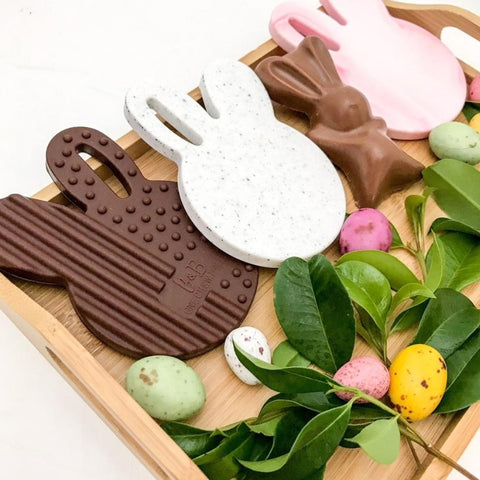 One.Chew.Three Easter Chocolate Bunny Silicone Teether