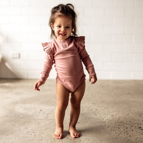 Snuggle Hunny Rose Pink Long Sleeve Organic Bodysuit