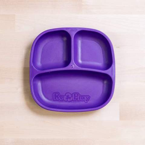 Re-Play Recycled Plastic Divided Plate in Amethyst (Dark Purple) - 18cm (Original Size)