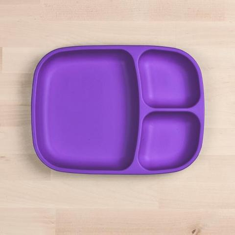 Re-Play Recycled Plastic Divided Plate in Amethyst (Dark Purple) - 25cm (Adult Size)