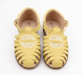Anchor & Fox Sicily Sandal in Lemon with Embroidered Floral Design (Available in Size 5, 7, 11 & 13)