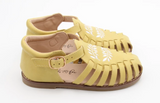 Anchor & Fox Sicily Sandal in Lemon with Embroidered Floral Design