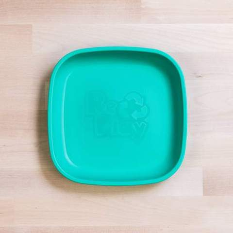 Re-Play Recycled Plastic Flat Plate in Aqua - 18cm (Original Size)