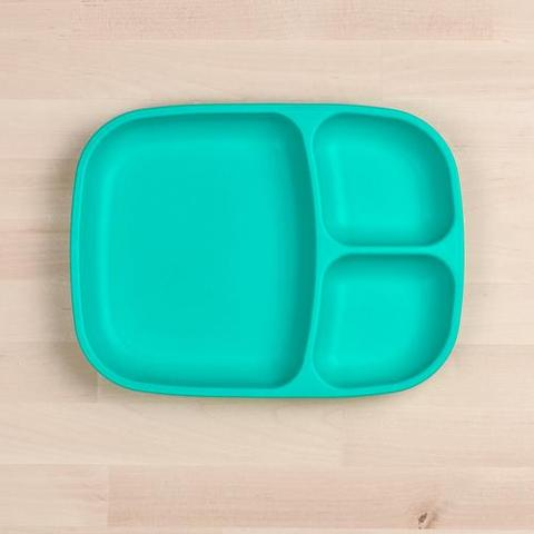 Re-Play Recycled Plastic Divided Plate in Aqua - 25cm (Adult Size)