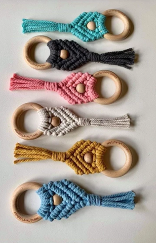 Arabella + Autumn Macrame Teether in Blue