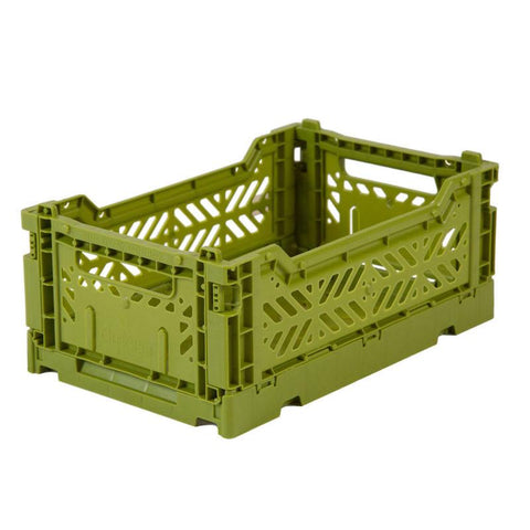 Ay-Kasa Lilliemor Mini Foldable Crate in Olive (Small Size)
