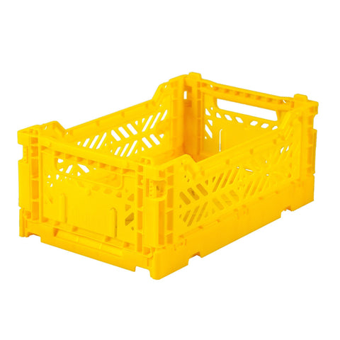 Ay-Kasa Lilliemor Mini Foldable Crate in Bright Yellow (Small Size)