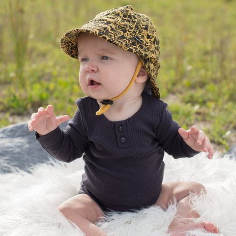 Bedhead Hat Wyatt Mustard & Black Baby Legionnaire UPF50+ Sunhat with Chin Strap (Available in Size 0-3 Months, 3-6 Months & 6-12 Months)
