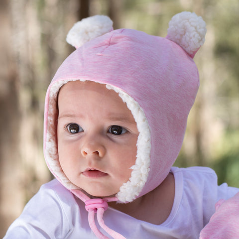 Bedhead Hat Baby Pink Marle Teddy Fleece Winter Beanie with Chin Strap - Sizes 0-3 Months, 3-6 Months, 6-12 Months & 1-3 Years