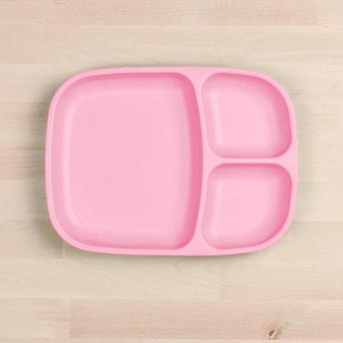 Re-Play Recycled Plastic Divided Plate in Baby Pink - 25cm (Adult Size)