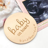 One.Chew.Three Wooden Baby on Board Plaque - Love Script Design