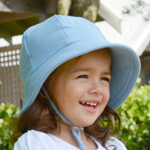 Bedhead Hat Chambray (Light Blue) Baby Bucket UPF50+ Sunhat with Chin Strap (Core Range)