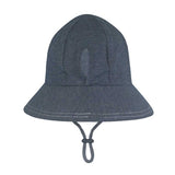Bedhead Hat Denim (Dark Blue) Ponytail Junior Bucket UPF50+ Sunhat with Chin Strap (Core Range)