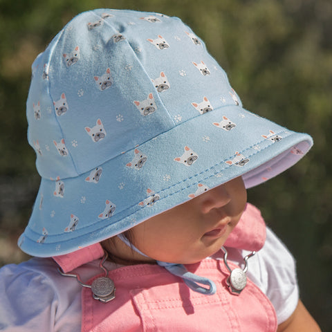 Bedhead Hat Frenchie Puppy Dog Baby Bucket UPF50+ Sunhat with Chin Strap (Summer 2019 Range) *Now on Clearance*