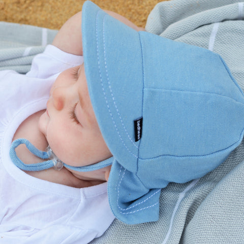 Bedhead Hat Chambray (Light Blue) Baby Legionnaire UPF50+ Sunhat with Chin Strap (Core Range)