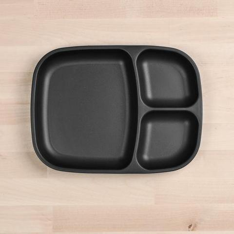 Re-Play Recycled Plastic Divided Plate in Black - 25cm (Adult Size)