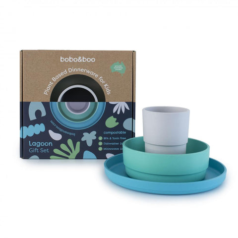 Bobo & Boo Plant Based Three Piece Dinner Set in Lagoon Colours (Grey, Aqua & Blue)