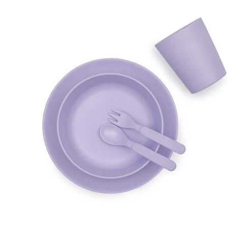 Bobo & Boo Bamboo Five Piece Dinner Set in Lilac Purple - Contains Plate, Bowl, Cup, Fork & Spoon