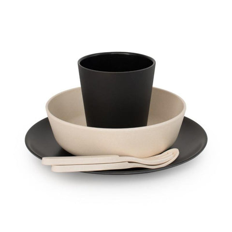 Bobo & Boo Bamboo Five Piece Dinner Set in Monochrome Black & Cream - Contains Plate, Bowl, Cup, Fork & Spoon