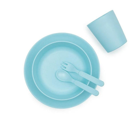 Bobo & Boo Bamboo Five Piece Dinner Set in Pacific Blue - Contains Plate, Bowl, Cup, Fork & Spoon