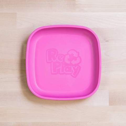 Re-Play Recycled Plastic Flat Plate in Bright Pink - 18cm (Original Size)