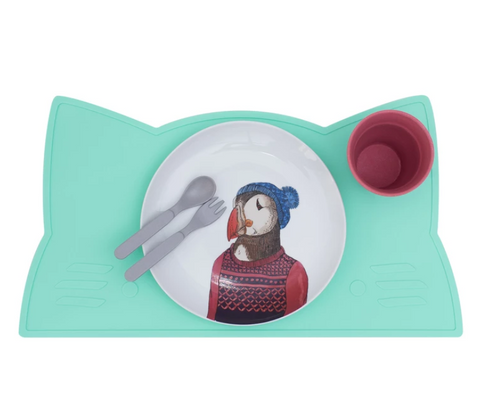 We Might be Tiny Cat Placie (Silicone Placemat) - Minty Green
