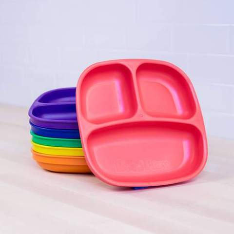 Re-Play Recycled Plastic Divided Plates in Set of Six Crayon Colours - 18cm (Original Size)