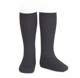 Condor Barcelona Ribbed Knee-High Socks - Carbon Grey (257)