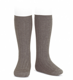 Condor Barcelona Ribbed Knee-High Socks - Trunk Brown (356)